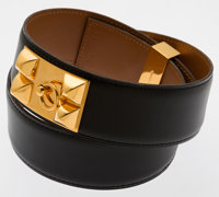 Hermes 70cm Black Calf Box Leather Collier de Chien Belt with Gold Hardware