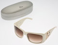 Luxury Accessories:Accessories, Christian Dior White Acetate Sunglasses with Crystal Accents . ...