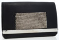 Luxury Accessories:Bags, Chloe Black Leather Clutch with Beaded Gunmetal Detail. ...