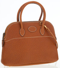 Hermes Natural Peau Porc Leather Micro Mini Bolide Bag with Gold Hardware & Shoulder Strap