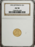 Commemorative Gold: , 1903 G$1 Louisiana Purchase/Jefferson AU58 NGC. NGC Census:(64/1767). PCGS Population (85/2871). Mintage: 17,500. Numismed...