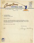 Football Collectibles:Others, 1960 George Halas Signed Typed Letter. One of the most important figures in the development of football as a major American...
