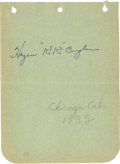 "Autographs:Letters, 1935 KiKi Cuyler Signed Album Page. Admired Hall of Famer Hazen ""KiKi"" Cuyler has placed his coveted signature firmly on th..."