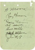 Autographs:Letters, 1935 Baseball Stars Multi-Signed Album Page. A total of seven ballplayers penned the exceptional fountain signatures to the...