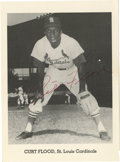 "Autographs:Photos, Curt Flood Signed Photograph. This team-issued 5x7"" black and whitephoto features reserve clause hero Curt Flood and comes..."
