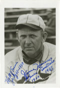 "Autographs:Post Cards, Jesse Haines Signed Photograph. Tremendous 3.5 x 5.5"" photo features Hall of Fame knuckleballer Jesse Haines in his St. Lou..."