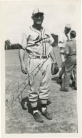 "Autographs:Photos, Pepper Martin Signed Photograph. Excellent vintage 3.5 x6""photograph features the Cardinals Gas House Gang anchor Pepper M..."