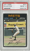 Baseball Cards:Singles (1970-Now), 1971 Topps Nolan Ryan #513 PSA NM-MT 8. The last card to feature Nolan Ryan with the New York Mets, this one is relatively ...