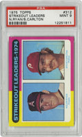 Baseball Cards:Singles (1970-Now), 1975 Topps Strikeout Leaders N. Ryan/S. Carlton #312 PSA Mint 9. Two of the toughest hurlers to hit in the history of the g...