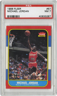 1986-87 Fleer Michael Jordan #57 PSA NM 7. Here we offer the coveted rookie card of perhaps the most exciting player to...