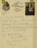 Photography:Official Photos, D.F. BARRY AUTOGRAPH LETTER SIGNED. One page, quarto, January 10,1929. Barry pencils a brief note to Usher L. Burdick who w...(Total: 1 Item)