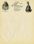 Photography:Signed, BLANK D.F. BARRY LETTERHEAD. Thirty-two sheets of Barry's distinctive letterhead, bearing images of Chief Gall and Sitting B... (Total: 32 Item)