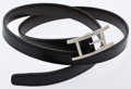 Luxury Accessories:Accessories, Hermes 85cm Black & Chocolate Calf Box Leather ReversibleQuentin Belt with Palladium Hardware . ...