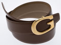 Luxury Accessories:Accessories, Gucci Brown Leather Belt with Brass G Buckle. ...