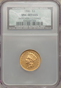 1886 $3 -- Improperly Cleaned -- NCS. Unc. Details....(PCGS# 8008)