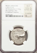 Ancients:Greek, Ancients: SICILY. Syracuse. Second Democracy. Ca. 430-420 BC. ARtetradrachm (17.06 gm)....