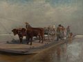 THOMAS CORWIN LINDSAY (American, 1845-1907) Barge Crossing Oil on canvas 36-1/4 x 48-1/4 inches (