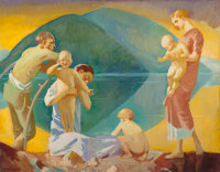 JEAN MACLANE (American, 1878-1964) The Inner Shore (Motherhood) Oil on canvas 36 x 46 inches (91