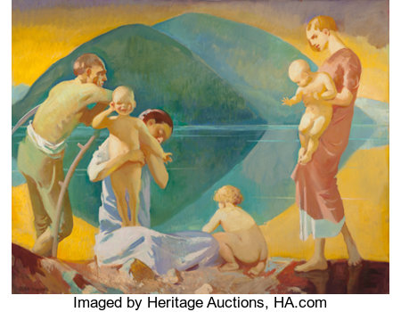 JEAN MACLANE (American, 1878-1964) The Inner Shore (Motherhood) Oil on canvas 36 x 46 inches (91.4 x 116.8 cm) Signe...