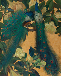 JESSIE ARMS BOTKE (American, 1883-1971) Blue Peacocks in a Golden Background Oil and gold leaf on ca