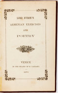 Books:Literature Pre-1900, Lord Byron. Lord Byron's Armenian Exercise and Poetry.Venice-St. Lazzaro: Mekhitarist Congregation, 1870. Bilin...