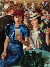RANDALL DAVEY (American, 1887-1964) Cocktails at the Races, 1955 Oil on canvas 40 x 30 inches (10