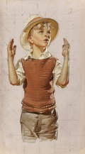 Paintings, JOSEPH CHRISTIAN LEYENDECKER (American, 1874-1951). Young Boy in a Hat. Oil on canvas mounted on board. 16 x 9 inches (4...