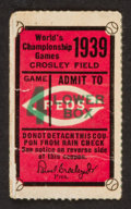 Baseball Collectibles:Tickets, 1939 World Series Game 4 Ticket Stub....