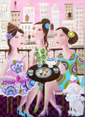 American, Julia Briggs. New York City Tea Time. Acrylic on Canvas. 36x 40 inches (91.4 x 101.6 cm). ...