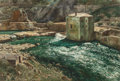 Fine Art - Work on Paper:Watercolor, DONALD TEAGUE (American, 1897-1991). Sunlight and Green Water(The White Bridge), early 20th century. Watercolor on boar...