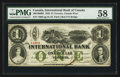 Canadian Currency: , Toronto, CW - International Bank of Canada $1 Sep. 15, 1858 Ch. #380-10-06-08. ...