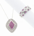 Estate Jewelry:Lots, Diamond, Ruby, Pink Sapphire, White Gold Jewelry . ... (Total: 2 Items)