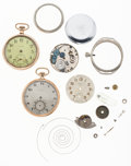 Timepieces:Other , Two Elgin Pocket Watches, Movement & Miscellaneous Watch PartsFor Parts Or Repair. ... (Total: 4 Items)