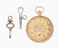 Timepieces:Pocket (pre 1900) , Gilbert Hyde & Co. London 18k Gold Fancy Dial Key Wind RubyCylinder Escapement. ...
