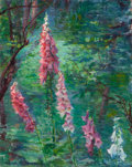 Paintings, GEORGE HENRY CLEMENTS (American, 1854-1935). Forest Interior and Foxgloves (double-sided painting), circa 1920. Oil on p...