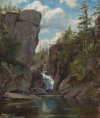 AMERICAN SCHOOL (19th Century-) Falls of the Mississippi, 1866 Oil on canvas 14-1/2 x 12-1/4 inch