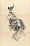 Fine Art - Work on Paper:Drawing, HARRISON FISHER (American, 1875-1934). A Lady of Leisure,1903. Charcoal pencil and ink wash with white highlights. 33-1...