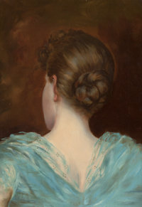 AMERICAN SCHOOL (20th Century-) Woman in a Blue Dress, circa 1910 Oil on canvas 16 x 11 inches (4