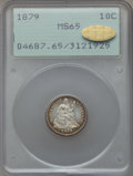 Seated Dimes: , 1879 10C MS65 PCGS. Gold CAC. PCGS Population (53/80). NGC Census:(28/68). Mintage: 14,000. Numismedia Wsl. Price for prob...