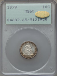 1879 10C MS65 PCGS. Gold CAC. PCGS Population (53/80). NGC Census: (28/68). Mintage: 14,000. Numismedia Wsl. Price for p...