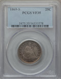 Seated Quarters: , 1869-S 25C VF35 PCGS. PCGS Population (9/29). NGC Census: (0/18).Mintage: 76,000. Numismedia Wsl. Price for problem free N...