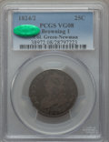 Bust Quarters: , 1824/2 25C VG8 PCGS. CAC. Browning-1. Ex: Col. Green-Newman. PCGS Population (17/119). NGC Census: (6/54). Mintage: 24,000....