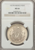 Mexico, Mexico: Republic Peso 1927-M MS66 NGC,...
