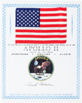 Explorers:Space Exploration, Apollo 11 Flown American Flag with Presentation Certificate Directly from the Personal Collection of Mission Command Module Pi...
