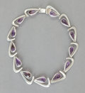 Silver & Vertu:Smalls & Jewelry, AN ANTONIO PINEDA SILVER AND AMETHYST NECKLACE. Antonio Pineda, Taxco, Mexico, circa 1955. Marks: (Antonio-crown), HECHO E...