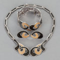 Silver & Vertu:Smalls & Jewelry, A MARGOT DE TAXCO MEXICAN SILVER AND ENAMEL JEWELRY SET . Margot Van Voorhies Carr, Taxco, Mexico, circa 1955. Marks: MARG... (Total: 4 )