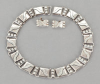 A HÉCTOR AGUILAR MEXICAN SILVER NECKLACE AND PAIR OF EARRINGS Héctor Aguilar, Taxco, Mexico, circa 1948 Ma...