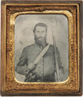 Military & Patriotic:Civil War, Confederate Triple-Armed 1/6th Plate Tintype. Staring straight into the camera, this Johnny Reb is ready for war whether fig...