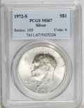 Eisenhower Dollars: , 1972-S $1 Silver MS67 PCGS. PCGS Population (4082/1240). NGC Census: (668/317). Mintage: 2,193,056. (#7411)...