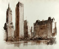 Books:Original Art, [Original Art]. (Artist Unknown). Original Ink and Watercolor Drawing Depicting the GM Plaza (Formerly Savoy Plaza) and the Sh...